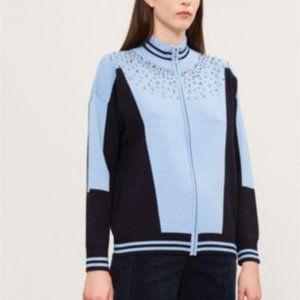 Sandro Embellished Half Zip Knit Jumper Sweater